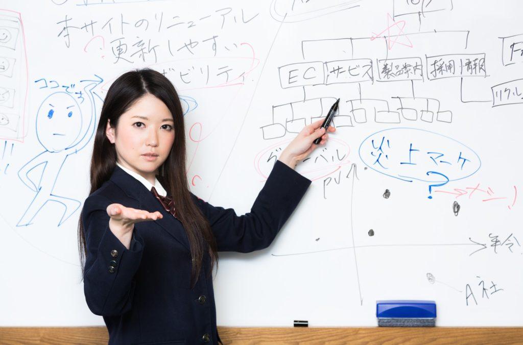 事業計画を掲げる女性の写真