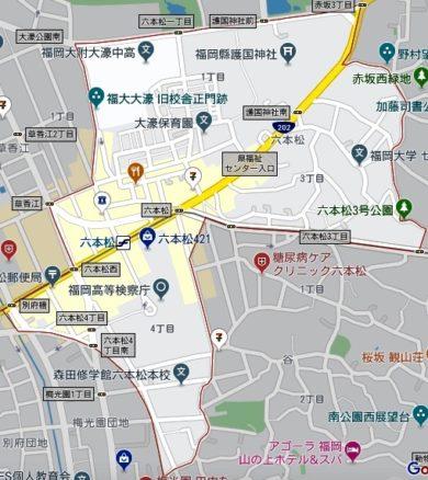 福岡六本松周辺の地図