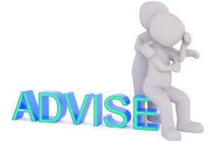 悩みを抱える労働者にアドバイスをするイラスト