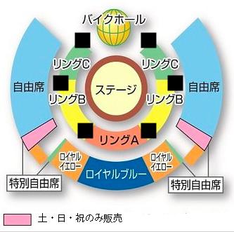 木下大サーカスの座席表・柱の大体の位置(福岡公演)