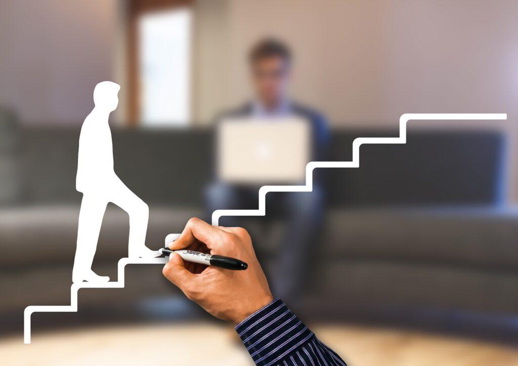 成功の階段を登る写真